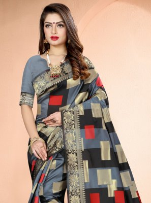 Grey Festival Art Banarasi Silk Traditional Saree