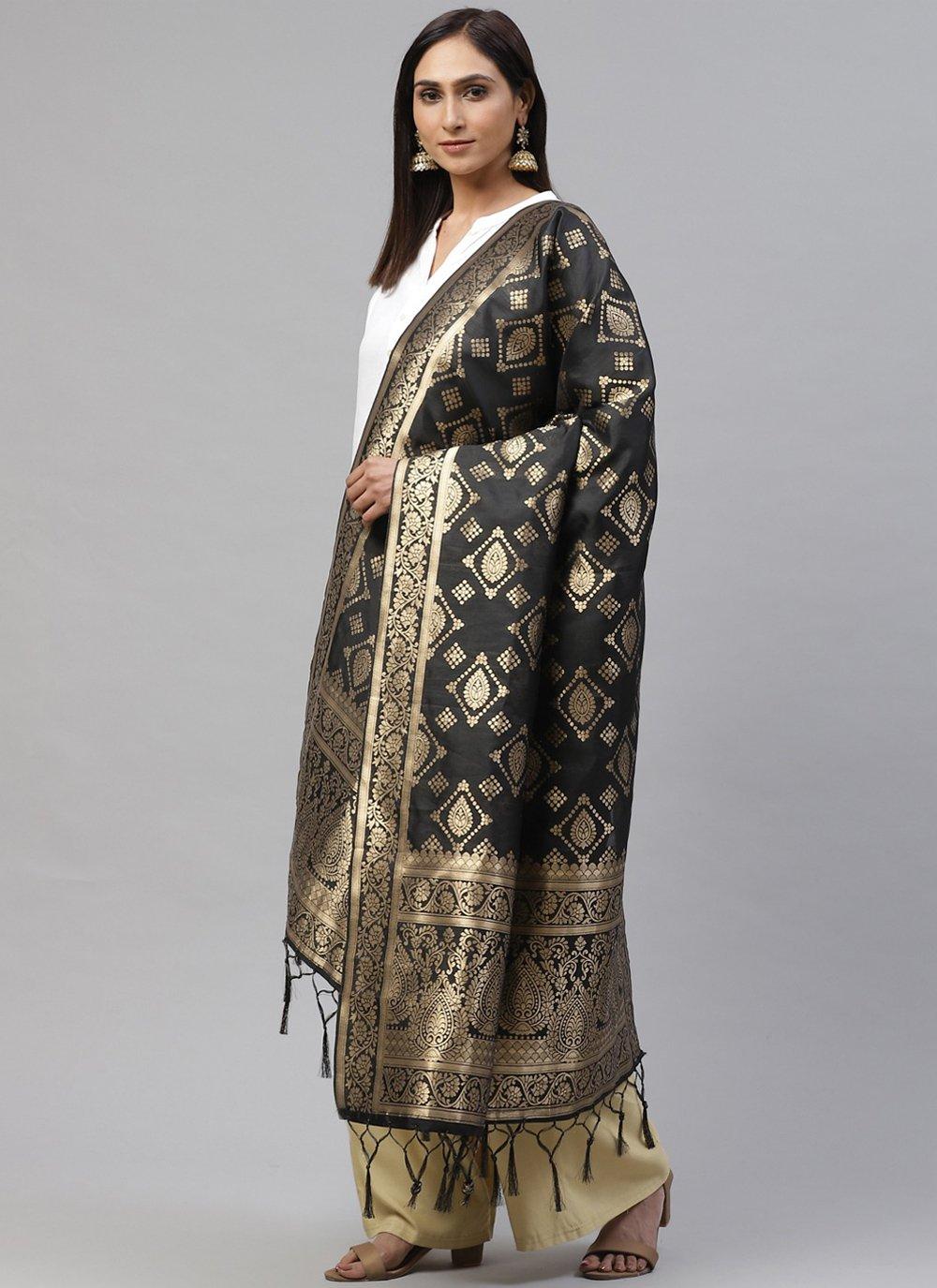 Grey Festival Art Silk Designer Dupatta