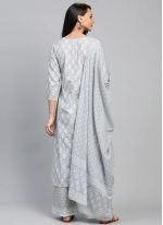 Grey Festival Cotton Readymade Suit