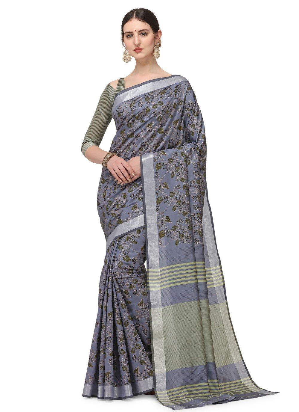 Grey Festival Cotton Silk Printed Saree
