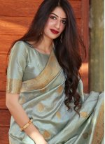 Grey Festival Designer Traditional Saree