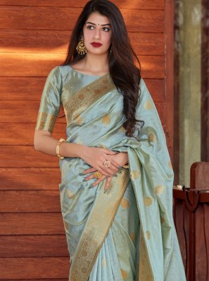 Grey Festival Designer Traditional Saree