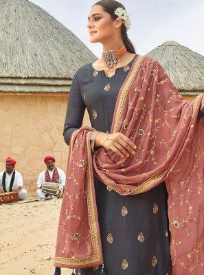 Grey Festival Fancy Fabric Designer Palazzo Salwar Kameez