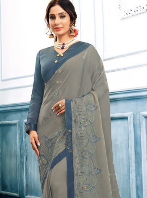 Grey Festival Faux Chiffon Trendy Saree