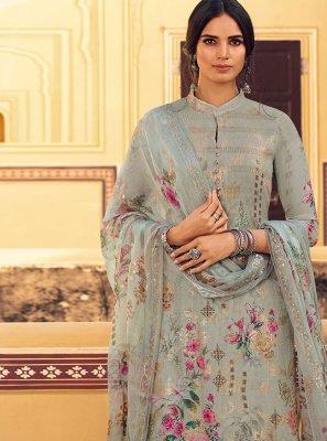 Grey Festival Faux Georgette Designer Pakistani Suit