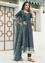 Grey Festival Rayon Readymade Suit