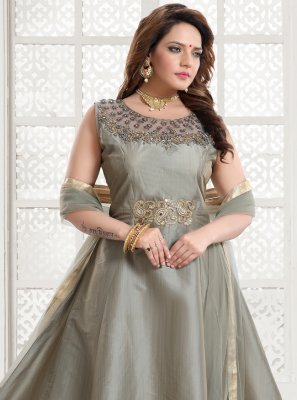 Grey Festival Silk Readymade Gown