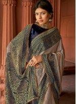 Grey Floral Print Silk Printed Saree