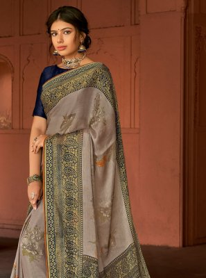Grey Floral Print Silk Printed Saree