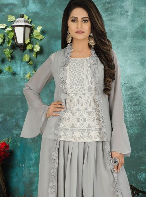Grey Georgette Designer Suit