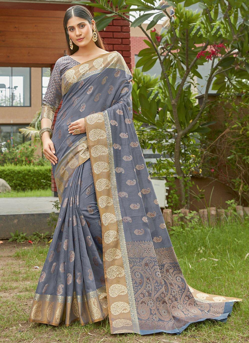 Grey Handloom Cotton Traditional Saree