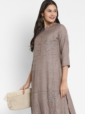 Grey Handwork Party Wear Kurti