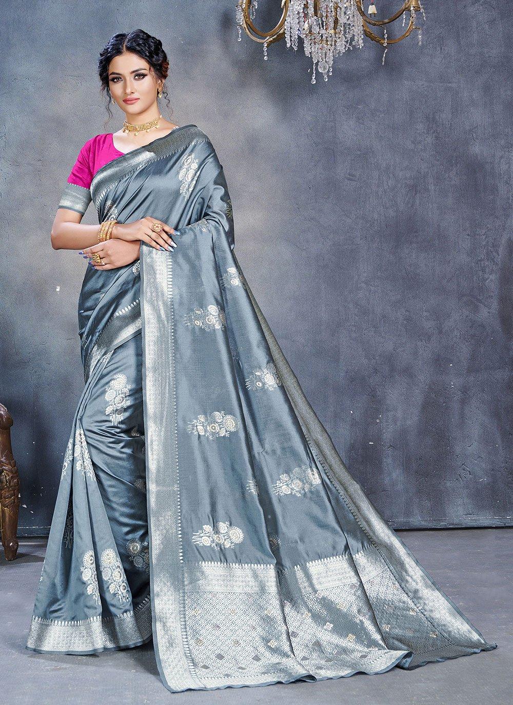 Grey Jacquard Festival Classic Designer Saree