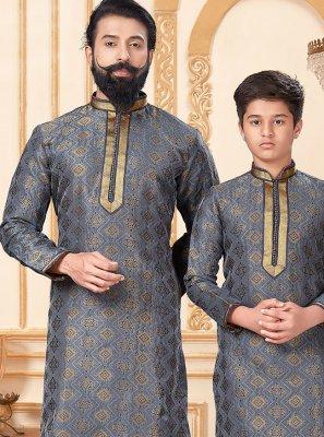 Grey Jacquard Silk Mehndi Kurta Pyjama