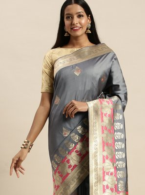 Grey Jacquard Silk Woven Traditional Designer Saree