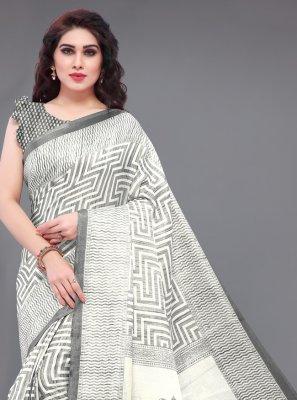 Grey Khadi Silk Printed Classic Saree