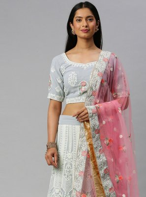 Grey Lace Faux Georgette Lehenga Choli