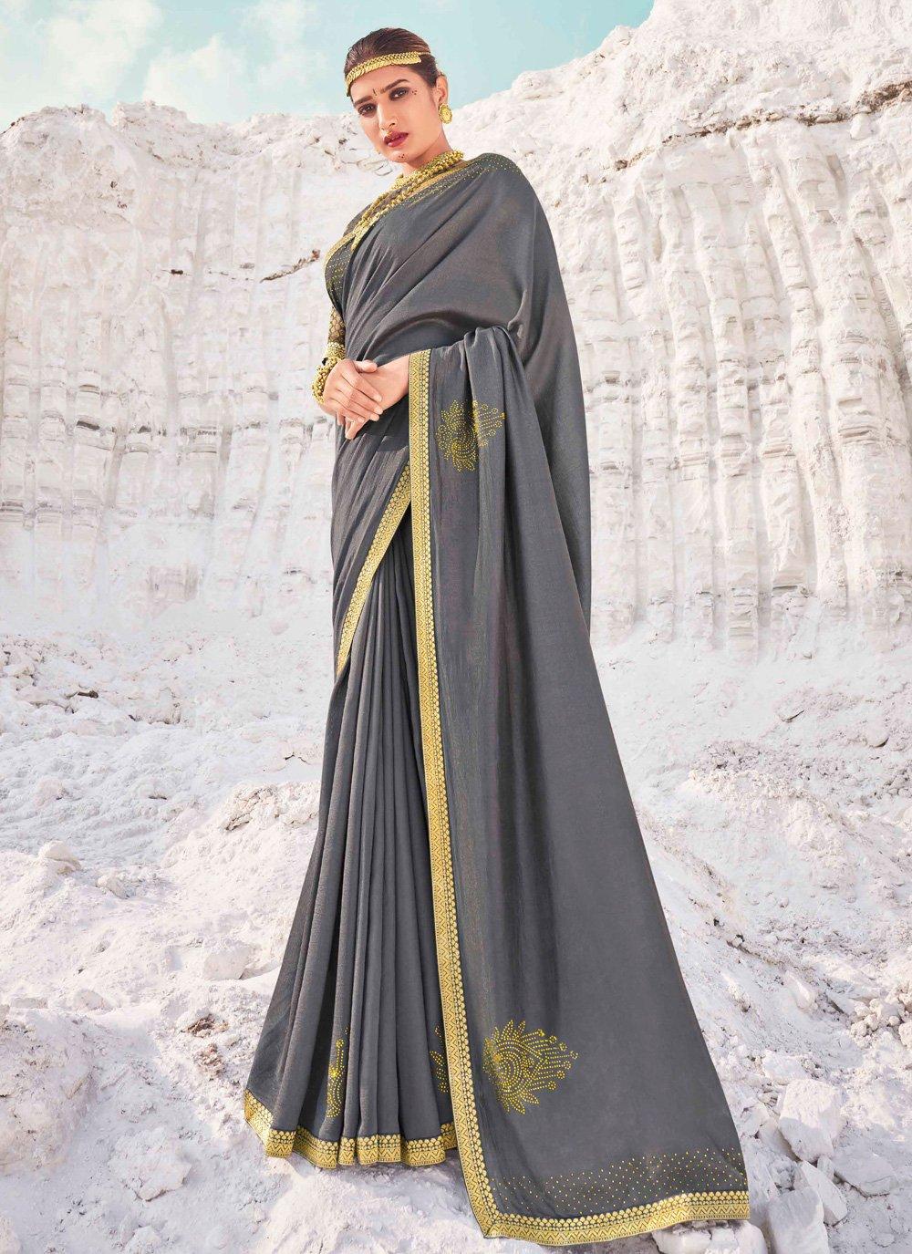 Grey Lace Festival Traditional Designer Saree