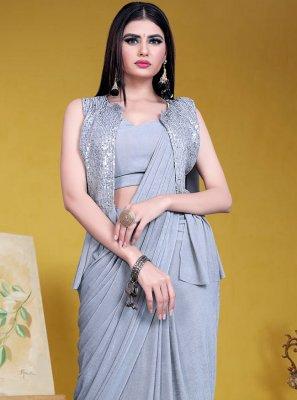 Grey Lycra Designer Saree