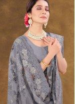 Grey Mehndi Designer Saree