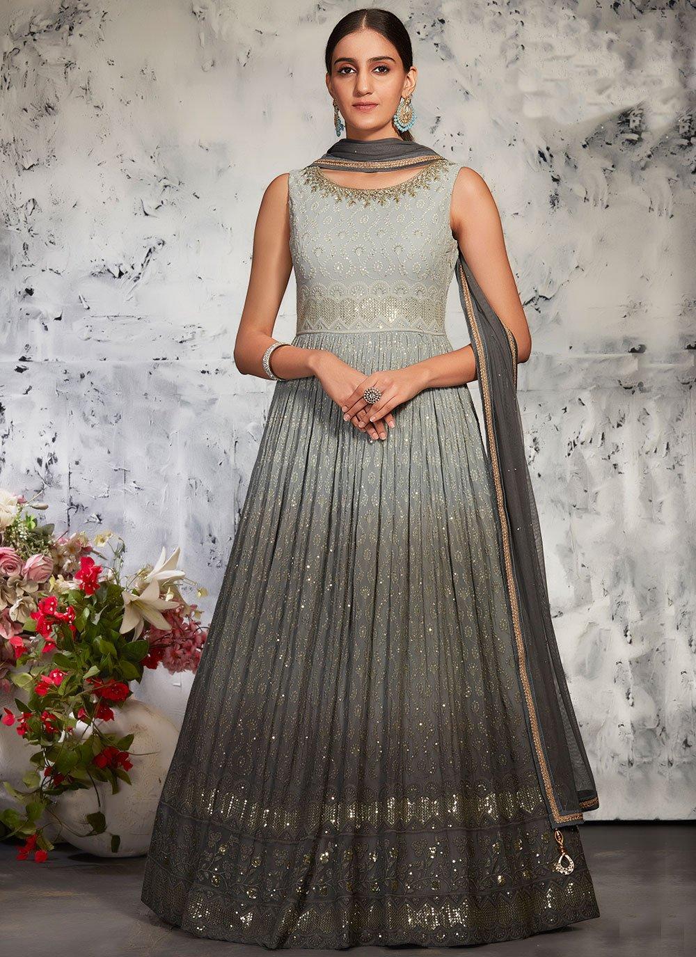 Grey Mehndi Floor Length Anarkali Suit