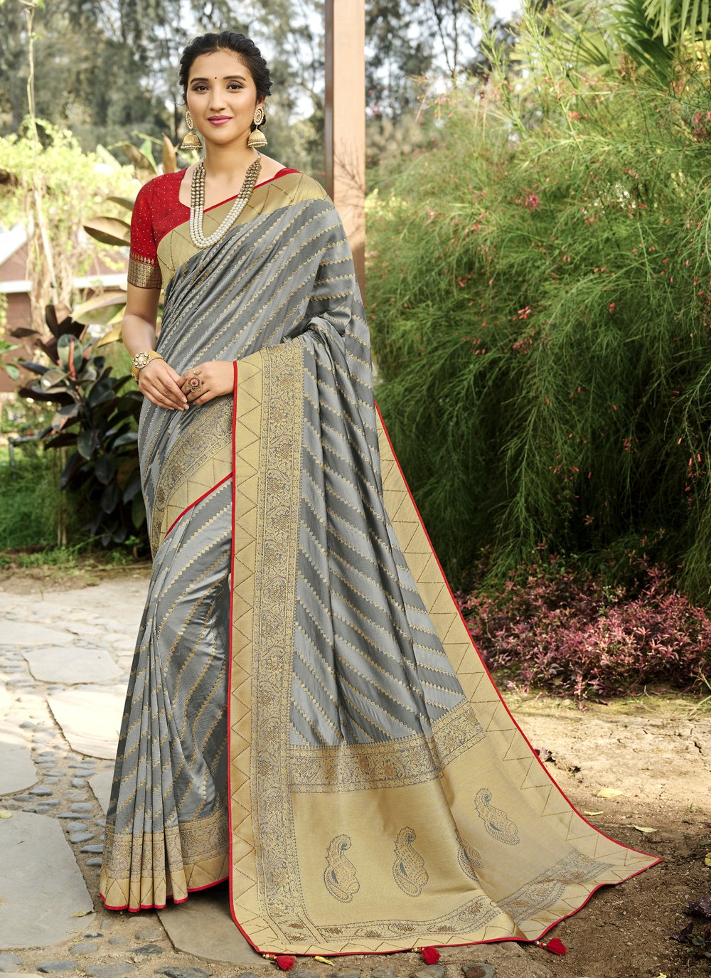 Grey Mehndi Silk Designer Traditional Saree