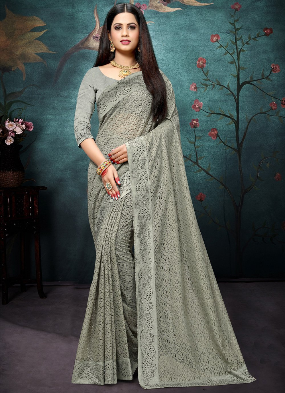 Grey Net Bollywood Saree