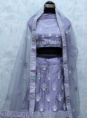 Grey Net Embroidered Lehenga Choli