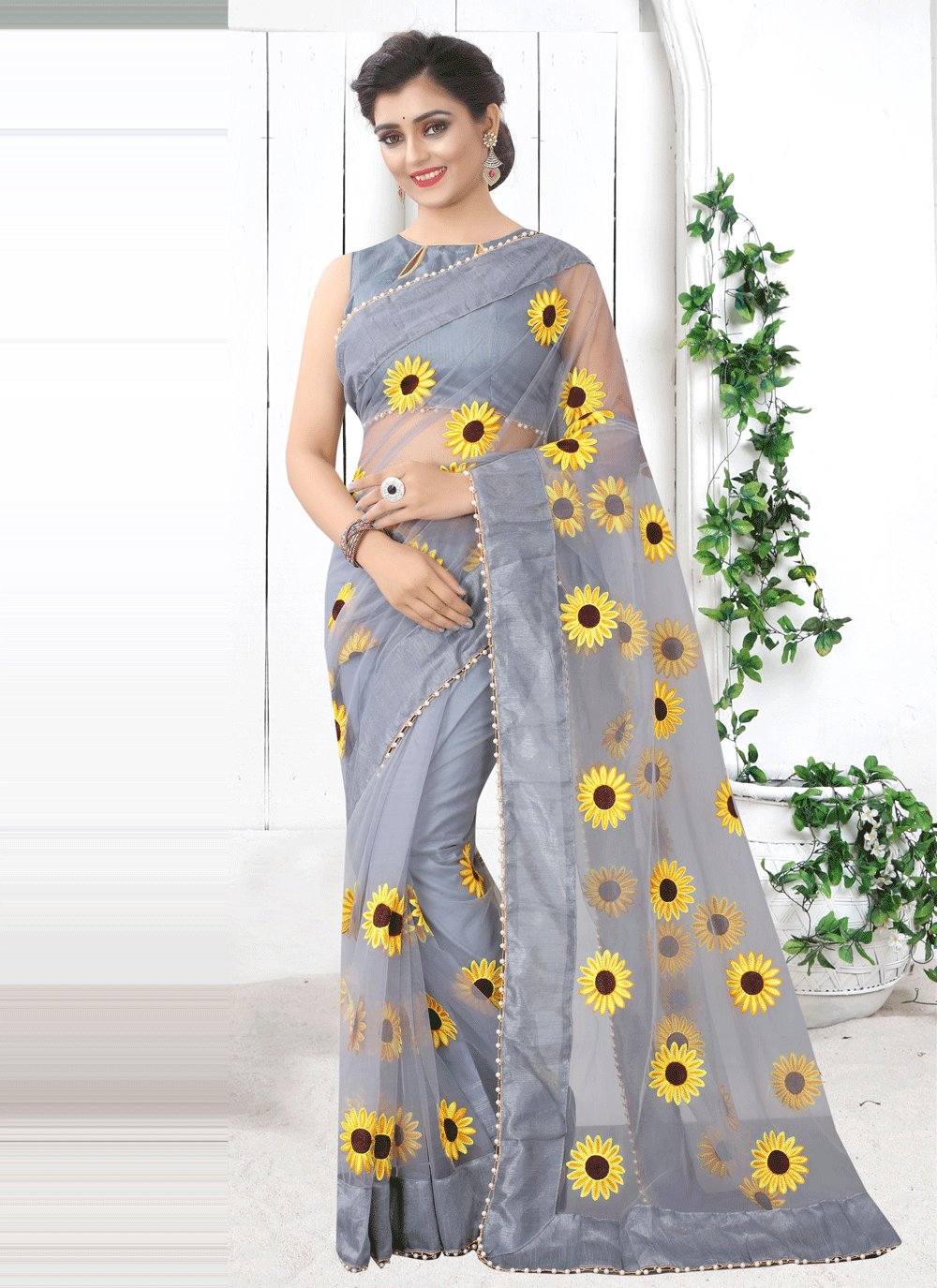 Grey Net Printed Saree