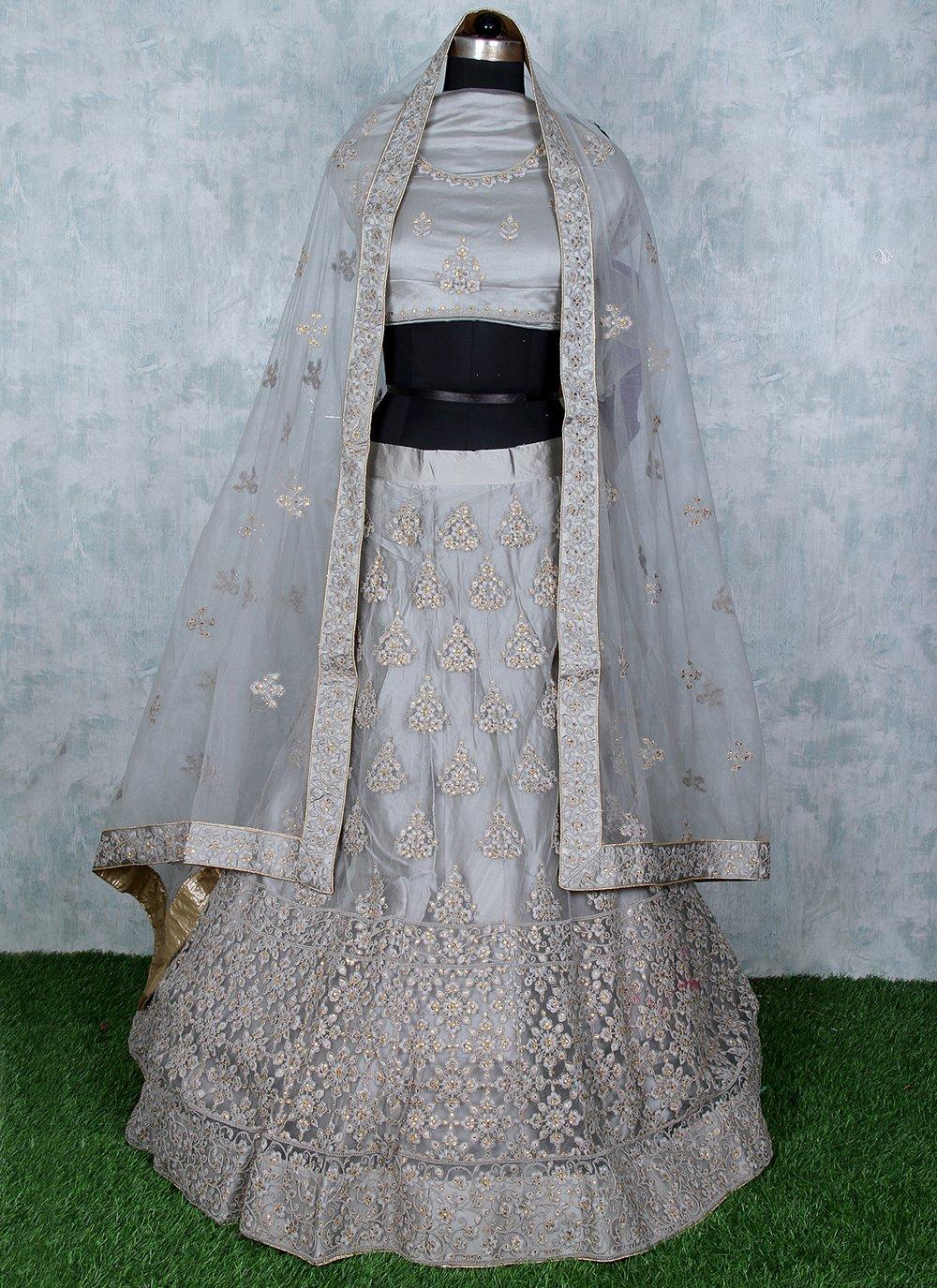 Grey Net Sangeet Lehenga Choli