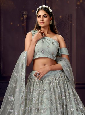Grey Net Trendy Lehenga Choli