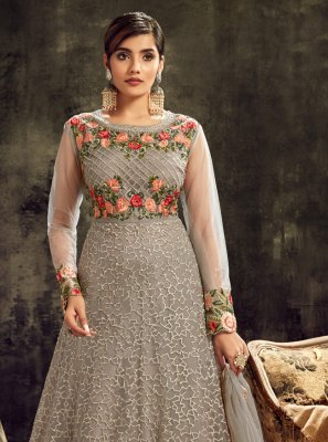 Grey Net Wedding Floor Length Anarkali Suit