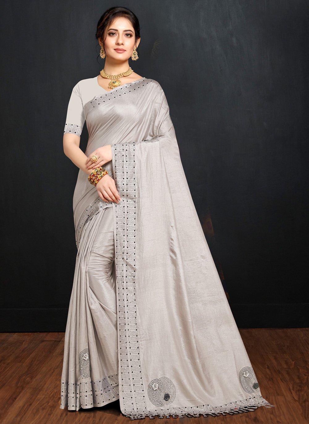 Grey Party Art Silk Traditional Saree