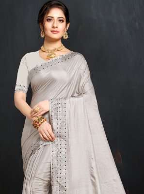 Grey Party Art Silk Traditional Saree