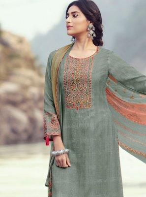 Grey Pashmina Designer Palazzo Salwar Kameez