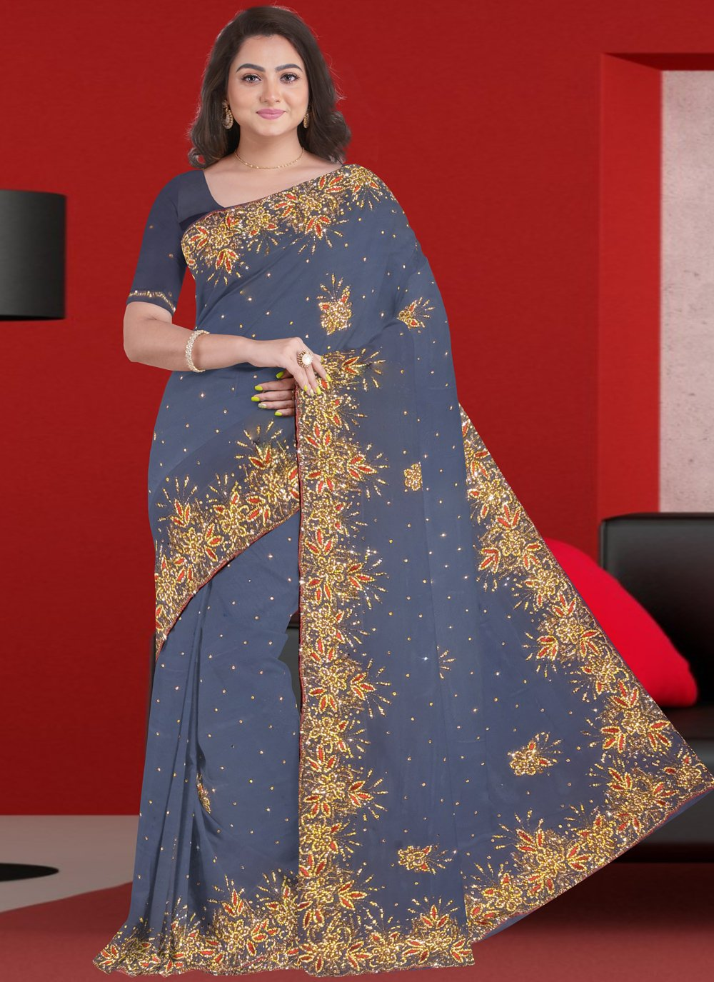 Grey Patch Border Engagement Designer Saree