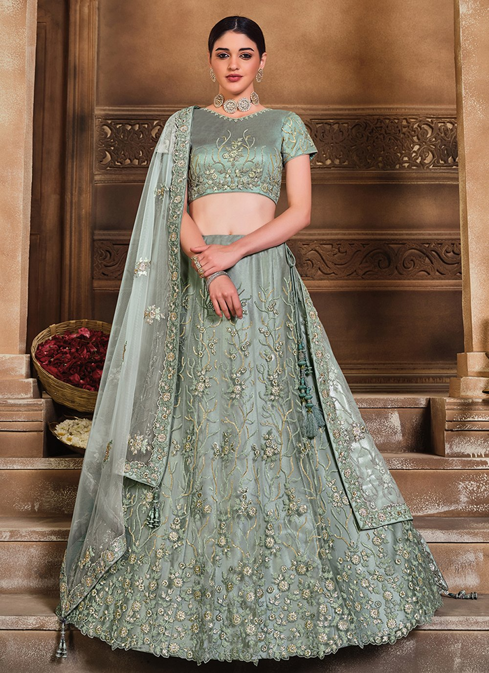 Grey Patch Border Lehenga Choli