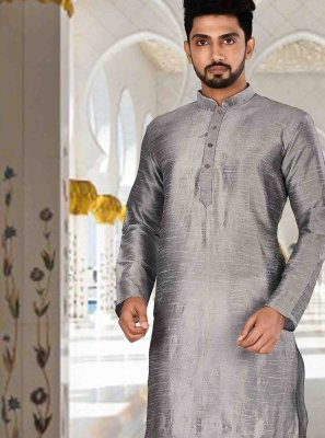 Grey Plain Kurta Pyjama