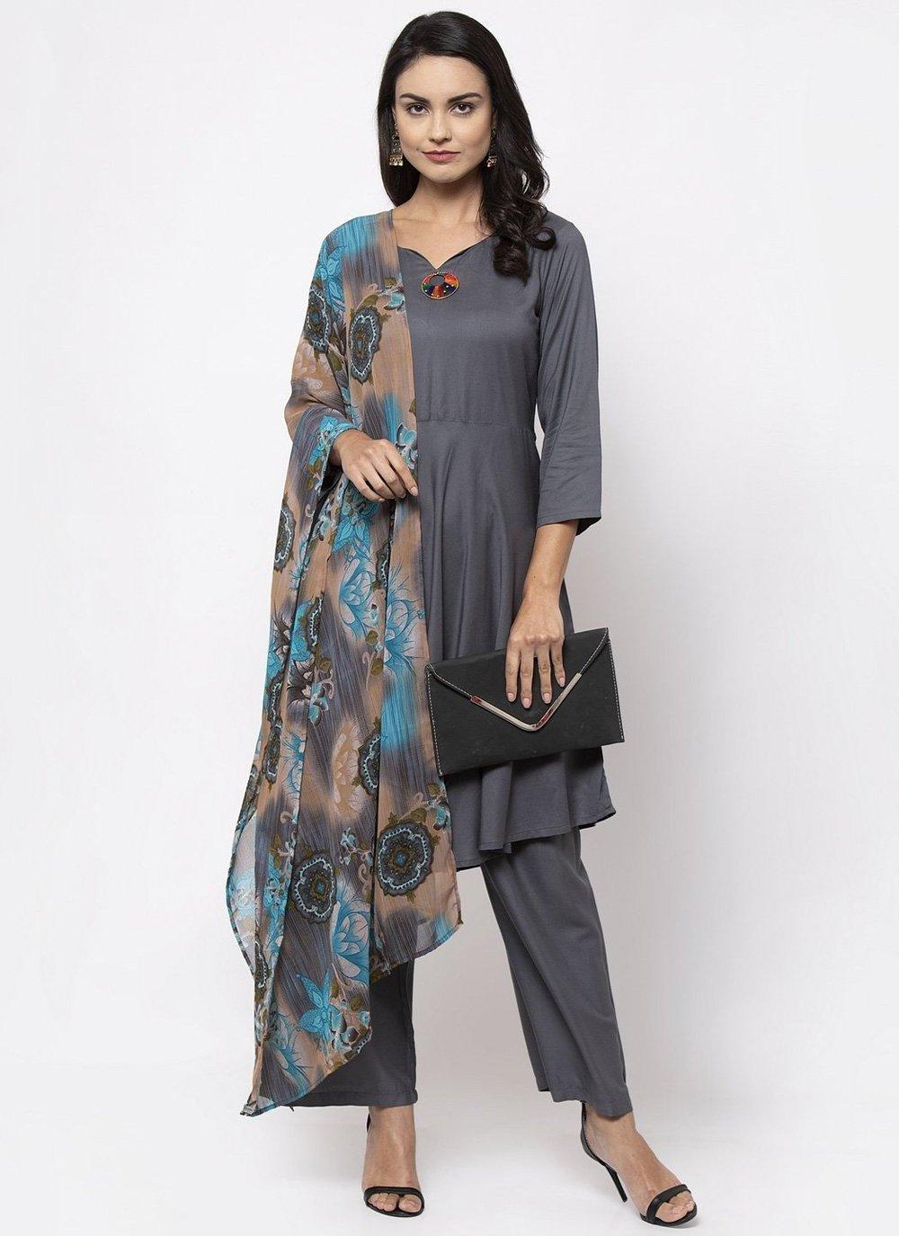 Grey Plain Rayon Bollywood Salwar Kameez