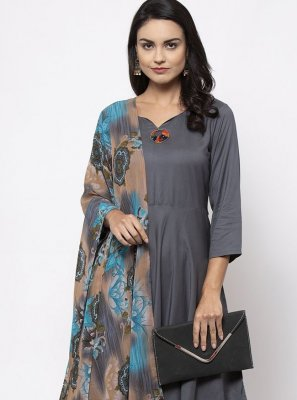Grey Plain Rayon Bollywood Salwar Kameez