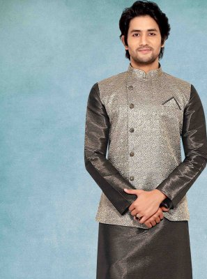 Grey Poly Silk Engagement Kurta Payjama With Jacket