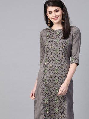 Grey Poly Silk Party Party Wear Kurti