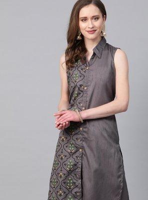 Grey Poly Silk Print Designer Kurti