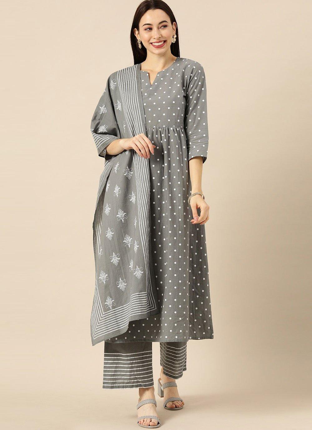Grey Print Cotton Readymade Suit