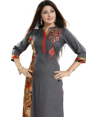 Grey Print Festival Party Wear Kurti