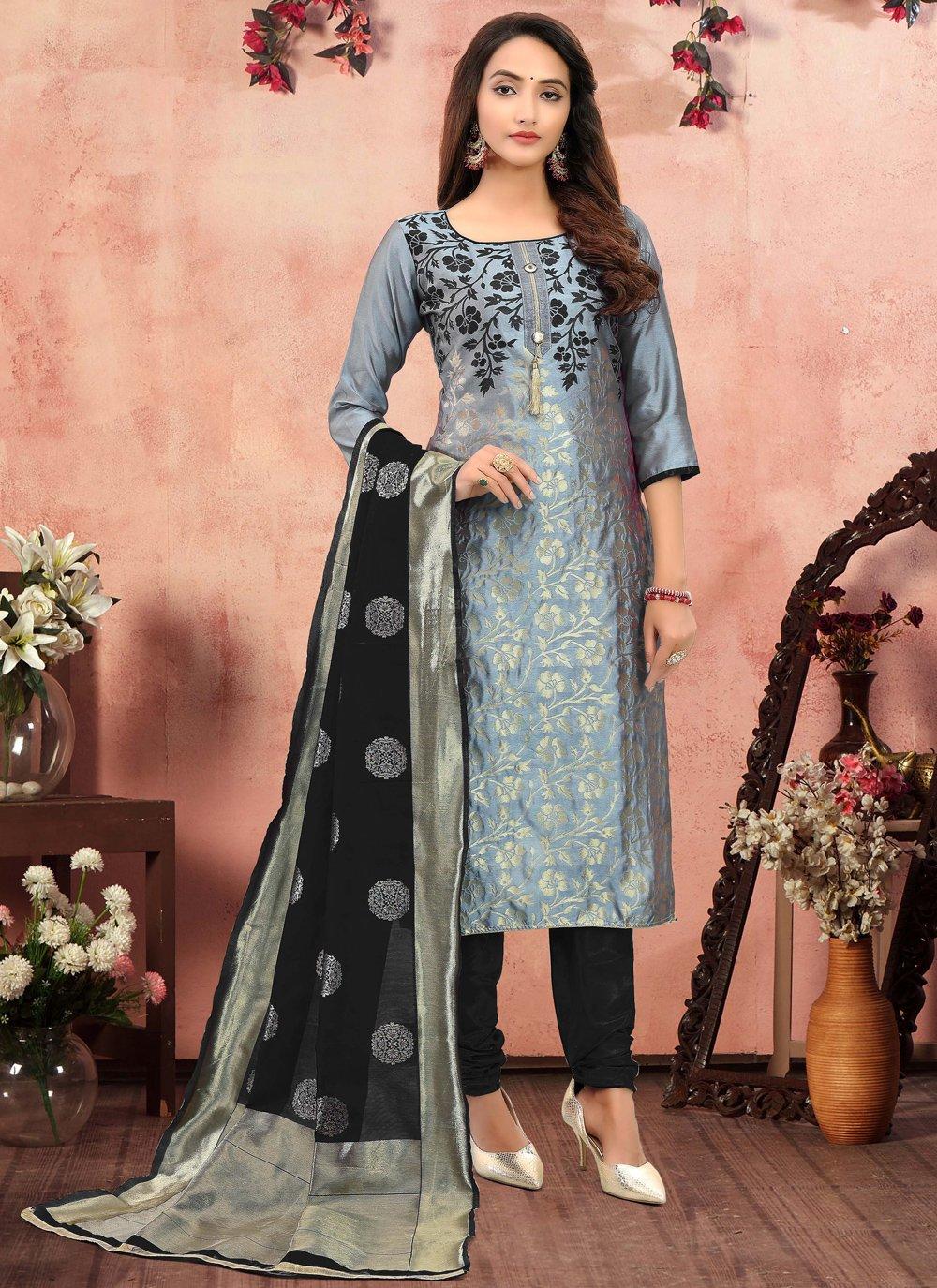 Grey Printed Churidar Salwar Suit