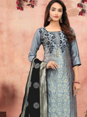 Grey Printed Churidar Salwar Suit