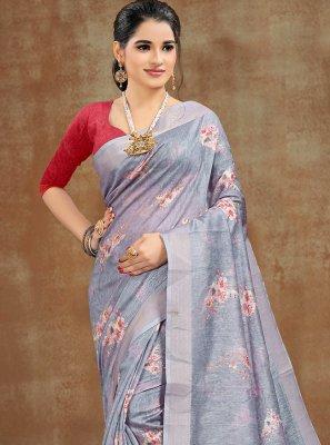 Grey Printed Cotton Printed Saree