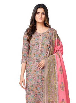 Grey Printed Cotton Readymade Suit