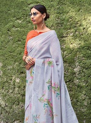Grey Printed Cotton Silk Silk Saree